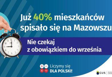 Na grafice jest napis: Już 40% mieszkańców spisało się na Mazowszu! Po lewej stronie jest zdjęcie dłoni na tle okręgu trzymającej budzik. Na wysokości budzika jest napis: Nie czekaj z obowiązkiem do września. Na dole grafiki są cztery małe koła ze znakami dodawania, odejmowania, mnożenia i dzielenia, obok nich napis: Liczymy się dla Polski! W prawym dolnym rogu jest logotyp spisu: dwa nachodzące na siebie pionowo koła, GUS, pionowa kreska, Narodowy Spis Powszechny Ludności i Mieszkań 2021